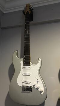 white and gray stratocaster electric guitar