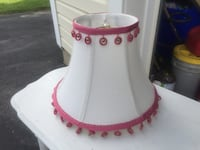 Adorable pink fringed lamp shade- expensive trim. Never used Olney, 20832