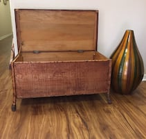 Antique Wood & Bamboo Storage Chest with Hinged Lid