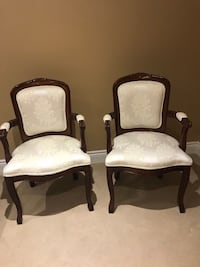 two brown wooden framed white padded armchairs Vaughan, L4L 7G9