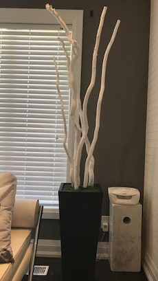 White decorative tree in pot