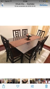 Rectangular brown wooden table with six chairs dining set Chula Vista, 91915