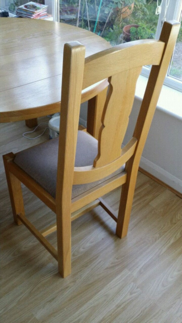 Solid oak extendable table and 3 chairs John Lewis
