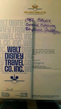 Epcot Center Grand Opening packet Burbank, 91506