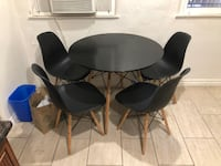 DSW Molded Plastic Dowel Base Table and Side Chairs