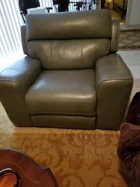 brown leather sofa chair with ottoman Severn