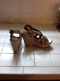 women's pewter, metallic colored wedges..