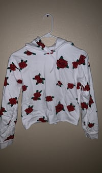 Medium white crop top hoodie with red roses Las Vegas, 89110
