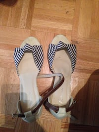 Black and white leather open-toe ankle strap flat  Toronto, M5V