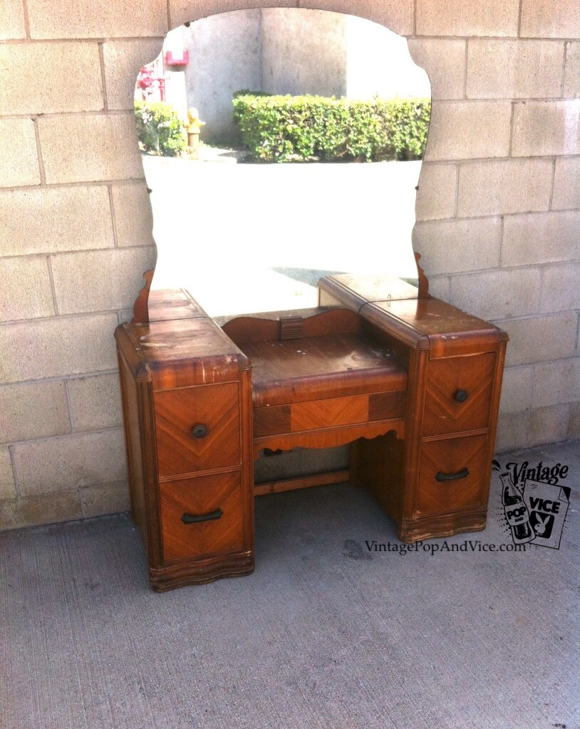 Art Deco Dressing Table Vintage Vanity With Mirror