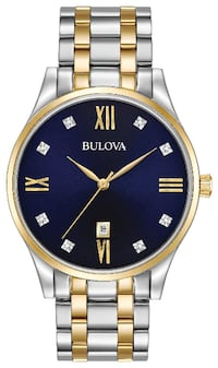 New Bulova 98D130 Diamond Dark Blue Dial Two Tone Stainless Steel Men's Watch   Santa Ana