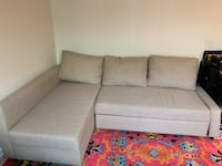 Sofa bed. IKEA FRIHETEN Sleeper sectional,3 seat w/storage, Skiftebo beige Washington, 20037