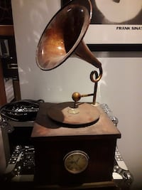 black and brown wooden Vintage Record player clock Toronto, M3K