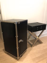 Modern Leather Side Table & Chest Set