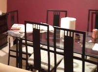 "JUST REDUCED - Black metal/glass top dining set 36"" X 60"" w/ 6 chairs Rockville, 20852"