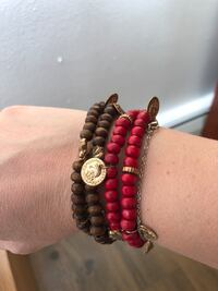 Brown and Red wooden pearl bracelets Vancouver, V6P