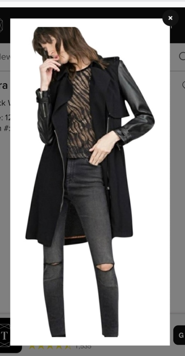 unparalleled nice cheap finest fabrics New ZARA Trench Coat with Faux Leather Sleeves - Medium