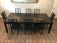 Rectangular black wooden table with six chairs dining set Orlando, 32803