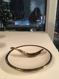 Small decorative gold and white plate with leaf accent Toronto, M5B