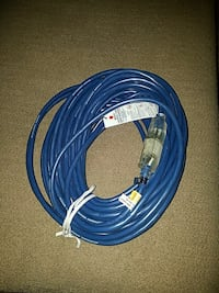 blue and white corded headphones