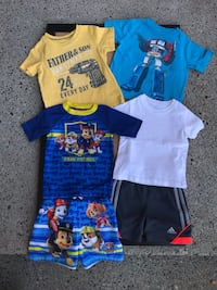 Assorted 2T Clothes: 3 Shirts 1 Shorts & 1 Swim Outfit Troutdale, 97060