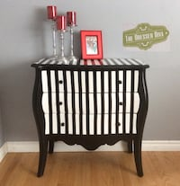 Black and white wooden striped 3-drawer chest