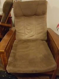 brown wooden framed gray padded glider chair Durant, 74701