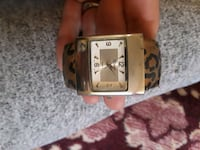 square silver-colored analog watch with brown leather strap Tucson, 85730