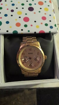 round gold Michael Kors chronograph watch with link bracelet DeLand, 32720