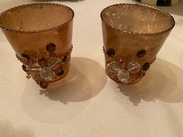 Amber colored  jeweled candle holders