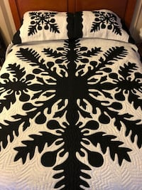 New! Queen Size Kukui Nut Hawaiian Quilt Honolulu