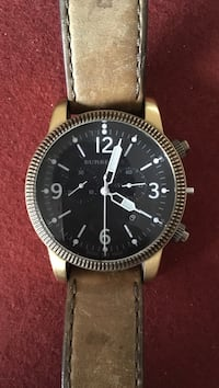 Round black Burberry chronograph watch with brown leather strap Malibu, 90265