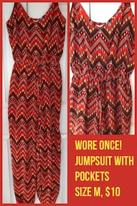 Tribal print jumpsuit with pockets wore once!! Chantilly, 20152