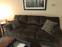 Gray fabric 3-seat sofa and matching accent chair 23 mi