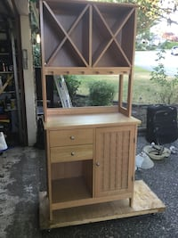 Solid light wood hutch. Excellent condition