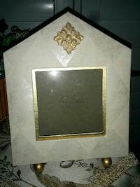 white and beige floral photo frame