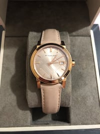 round gold-colored analog watch with white leather strap Houston, 77036