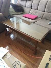 Wooden Table with Glass Top Bowmanville, L1C 3K3