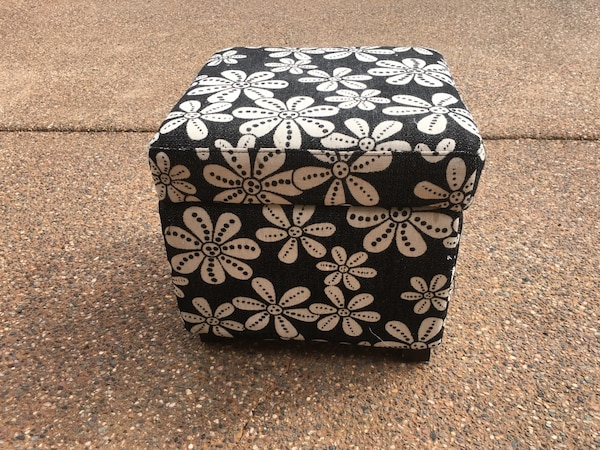 Tremendous Square Black And White Floral Storage Ottoman Gmtry Best Dining Table And Chair Ideas Images Gmtryco