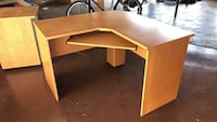 brown wooden sectional desk