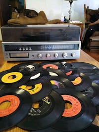 Turntable record player with 8-track and radio