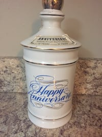 White happy anniversary ceramic jar with lid Canal Fulton, 44614