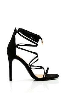 black leather open-toe ankle-strap heels Davenport, 52806