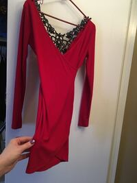 Brand new Size S/M -ladies long sleeve dress- gorgeous red V-neck cross over dress with very unique back: black lace/jewel embellishment