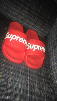 red Supreme leather slide sandals Ajax, L1Z