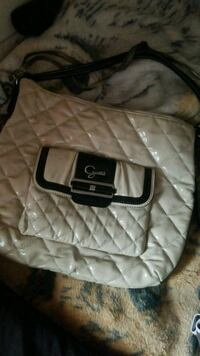 quilted white and black leather crossbody bag Winnipeg