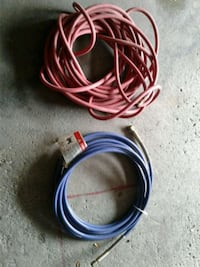 two blue and red coated wires