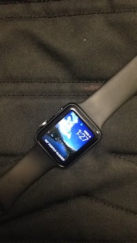 silver aluminum case Apple Watch with black sport band Killeen, 76543