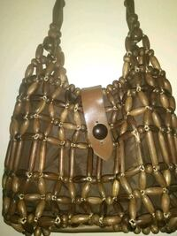 "Vintage wood wooden beaded purse handbag 11""x7""x3'd Marcus brothers Hyattsville, 20784"