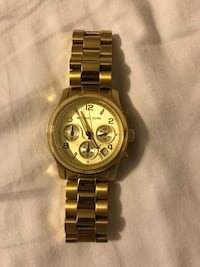Round gold michael kors chronograph watch with link bracelet Greer, 29651